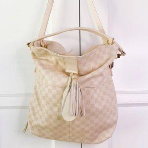 Brand new white/cream checkered leather bag